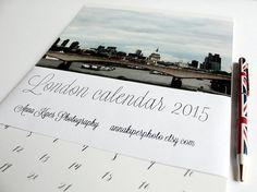 2015 calendar London calendar 2015 wall calendar London print christmas present monthly calendar London art 5x7 8x11 A4 calendar https://www.etsy.com/shop/AnnaKiperPhoto