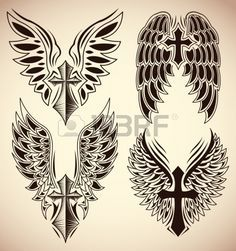 Set of cross and wings tattoo elements Stock Vector