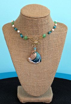 Unusual Necklace Turquoise Colour Seashell Beads Bridesmaid Gift Aqua Pearlised Polished Shell Point Necklace Nature Jewellery
