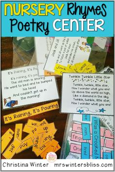 Your students love to build these Nursery Rhymes in poetry center. They can work alone or with a partner to build familiar nursery rhymes and practice reading fluency. Check out how fun these are this year! By Mrs. Winters Bliss #elementarypoetrycenter #readingfluency #1stgradepoetry