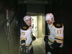 Tyler Seguin & Milan Lucic in tunnel before game at Montreal. Hockey Teams, Hockey Players, Milan Lucic, Dont Poke The Bear, Tyler Seguin, Boston Celtics, Boston Red Sox, New England Patriots, Montreal