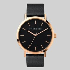 So need to add this one to my collection ❤️❤️. Rose Gold / Black Leather Timepiece by The Horse.