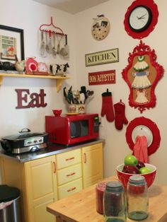 COZY LITTLE HOUSE: Apartment Kitchen Reveal ~~~Old rake painted, mounted to wall and used to hang other utensils