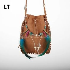 Cheap bag, Buy Quality feather fan directly from China bag messenger Suppliers: 2016 Boho Chic Real Leather Bag Handmade Brown Beaded Feathers American Indian Tribal Hippie Gypsy Bohemian Small PouchU