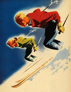 Man and woman skiing. Vintage skiing poster showing a man and woman on the slopes. Used for Jantzen skiwear ad, Illustrated by Joseph Binder. Ski Vintage, Vintage Ski Posters, Vintage Winter, Kunst Online, Art Graphique, Advertising Poster, Grafik Design, Vintage Advertisements, Ephemera