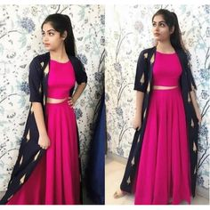 pink georgette partywear crop top lehenga with printed shrug - All About Clothes Indian Fashion Dresses, Indian Gowns Dresses, Dress Indian Style, Indian Designer Outfits, Designer Dresses, Designer Wear, Indian Outfits, Indian Wear, Stylish Dress Designs