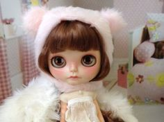 Blythe Pink Bear Helmet / furry