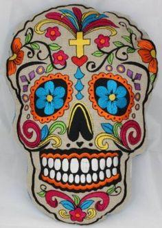 Old School Sugar Skull decoration pillow about 35cm x 30cm - death's head SugarSkull (blue): Amazon.co.uk: Kitchen & Home