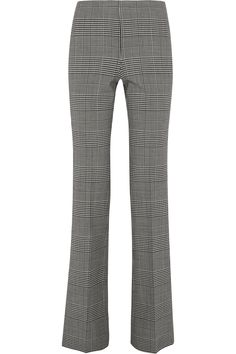 THEORY Demitria Prince of Wales checked stretch-wool flared pants  $365.00 https://www.net-a-porter.com/product/746389