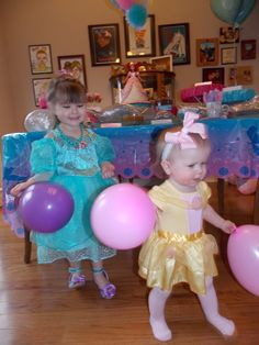 Birthday Girl Princess Ariel and Little Sissy Princess Belle