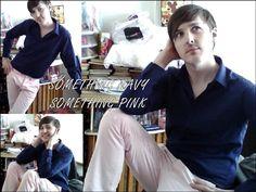 something blue something pink, fashion, trendy, fashion look, navy blue, pink chinos, stylish, everyday wear,menswear, mens fashion,