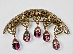 Victorian Brooch Purple Amethyst Glass Briolettes Gilt Brass Filigree Antique Brooch Vintage Jewelry Teardrop Crescent by TheJewelryChain on Etsy