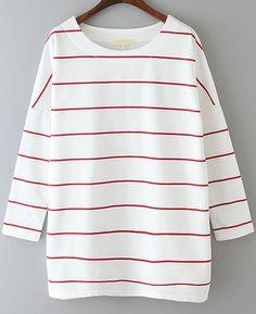 Camiseta suelta rayas manga larga-blanco y rojo 12.15