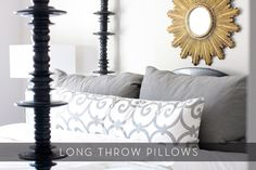 I like the long pillow with just the two pillows you actually use. I never put my decorative pillows on the bed. they stay in the floor. Pillow Headboard, Bed Pillows, Bolster Pillow, Cushions, Chic Dorm, Sexy Home, Diy Pillow Covers, Long Pillow, Girl Room