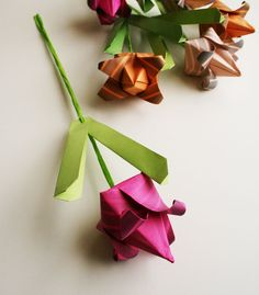 Origami Tulips - Handmade paper, totally unique origami flower bouquet, Origami Sculpture in Vibrant Spring Colors