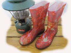 slogger rain boots paisley red - cute cheap rain boots!  -hm