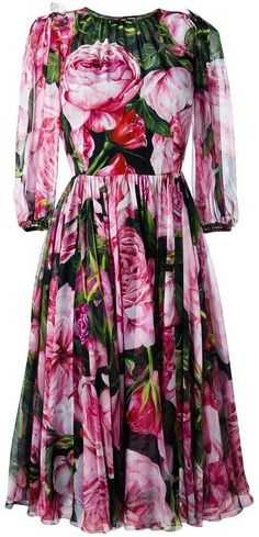 Dolce & Gabbana rose print chiffon dress