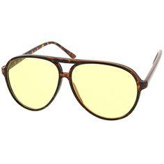 c68a7235f6d5 zeroUV - Retro Large Plastic Aviator Sunglasses with Yellow Blue Blocking  Driving Lens (Tortoise