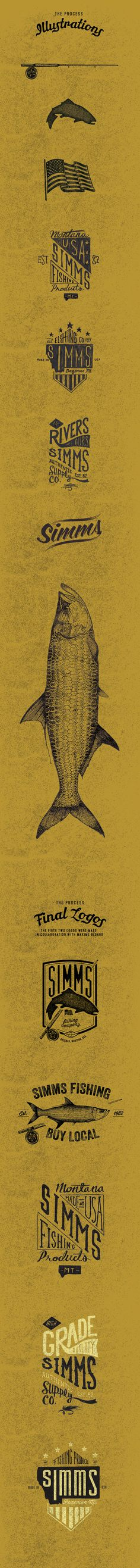 Simms Fishing Clothing Logos 2015 by Carl Bédard, via Behance type hand lettering logo illustration graphic design