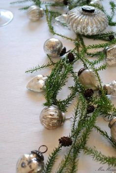 Vintage silver Christmas ornaments and faux greens. Silver Christmas, Christmas Past, Vintage Christmas Ornaments, Christmas Baubles, Country Christmas, Christmas Colors, All Things Christmas, Christmas Holidays, Christmas Crafts