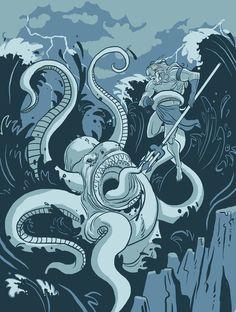 """""""King Neptune vs. the Sea Monster"""" by Michael B. Myers Jr."""