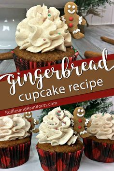 I'm all about these easy gingerbread cupcakes. They have a gingerbread cookie on them--what's not to love? Definitely one of the best Christmas cupcakes. New Year's Desserts, Christmas Desserts Easy, Christmas Sprinkles, Cute Desserts, Christmas Cupcakes, Christmas Sweets, Christmas Gingerbread, Simple Christmas, Christmas Baking