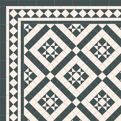 London Mosaic Victorian tile design: Willesden 50 - monochrome, traditional victorian, floor tiles