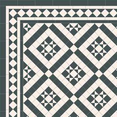 London Mosaic Victorian tile design: Willesden 50 - monochrome, traditional victorian, floor tiles