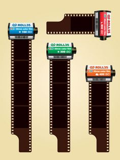 35mm colored photo film cartridges free vector, via Flickr.