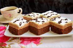 Brownie cu cremă de mere și frișcă - Rețete Merișor Cheesecake, Muffin, Breakfast, Desserts, Food, Morning Coffee, Tailgate Desserts, Deserts, Cheesecakes