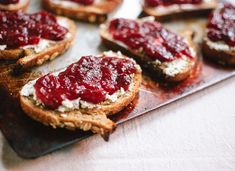 yummy way to eat leftover Thanksgiving cranberry sauce - with goat cheese on a crostini!