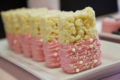 Blush Pink Minnie Mouse Dessert Table Chocolate Dipped Rice Crispy Krispie Treats Sweet Table Candy Buffet Birthday Wedding Baby Shower Favors