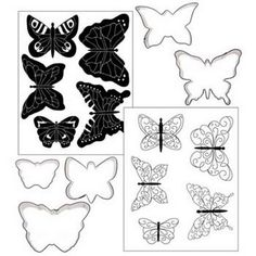 Royal Icing Butterfly Template | Butterfly Cookie Cutter Texture MAT SET FOR Cookies Cake Cupcake ...