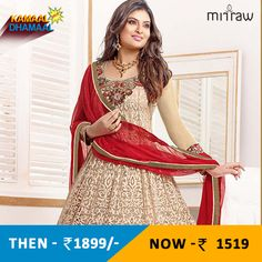 Sayali bhagat in cream and maroon anarkali suit.Shop Now- http://bit.ly/1K9EEYi