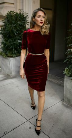 30 DRESSES IN 30 DAYS: Holiday Office Party, Cocktail Attire //  Red velvet sheath dress, embellished black waist belt, black strappy Mary Jane pumps, black leather cross body bag, statement earrings and a dark red lip {Holiday style, Christmas party, what to wear to an office holiday party, office holiday, cocktail attire, festive style, christmas style, holiday 2017 fashion, fashion blogger, classic style}
