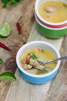 This Thai Coconut Chicken Soup is such a feel good kind food. A bowl of this would generally put someone in a good mood. Although perfect on it's own, this is DELICIOUS with glass/rice noodles and even rice! If you prefer it vegetarian, just omit the chicken and bulk up on the veggies.