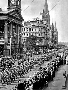 Military March, passing Melbourne Town Hall, to the rear is Queen Victoria Building and others all demolished by Ron Walker for the City Square from onwards. Melbourne Victoria, Victoria Australia, Victoria Building, White City, Largest Countries, Historical Pictures, Urban Planning, Melbourne Australia, Tasmania