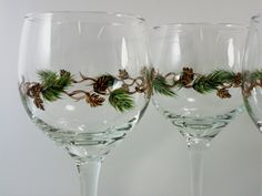 Pine Cone Wine Glasses Hand Painted Set of 4. $48.00, via Etsy.
