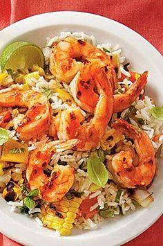 Shrimp Recipes, Rice Recipes, Healthy Recipes, Dinner Recipes, Pasta Recipes, Shrimp And Vegetables, Grilled Vegetables, Vegetable Rice Recipe, Asian