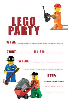 FREE LEGO INVITE  and other Lego party printables and ideas...i've printed these, and glued them to primary colored construction paper!~T