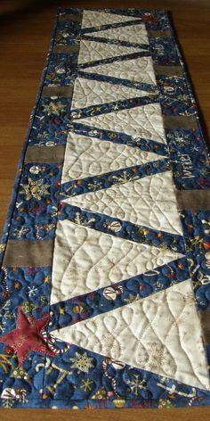 Christmas Tree Quilted Table Runner Cream and Navy by HollysHutch