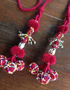 Hmong handmade pom pom strap beads mirror ethnic by KutchiKooTribe Hand Embroidery Stitches, Embroidery Techniques, Beaded Embroidery, Boho Hippie, Fabric Jewelry, Beaded Jewelry, Beaded Mirror, Pom Pom Crafts, Tassel Keychain