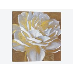 """East Urban Home 'Golden Bloom I' by Carol Robinson Painting Print on Wrapped Canvas Size: 12"""" H x 12"""" W x 0.75"""" D"""