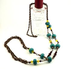 Turquoise Gemstone Necklace Long Chain and Stone by APerfectGem, $24.00 www.etsy.com/shop/aperfectgem