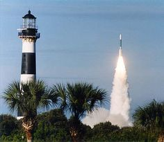 Cape Canaveral Lighthouse with Rocket Launch, courtesy US Air Force--Cape Kennedy, Florida-- I live here :) Alexandria, Bahamas Cruise, Costa, Beacon Of Light, Visit Florida, Cocoa Beach, To Infinity And Beyond, East Coast, Places To See