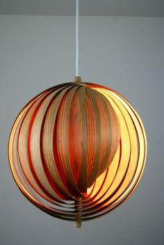 Vintage MOON Lamp Danish Modern Panton Pine Laminate Mid Century Jakobsson 60s   #DanishModern