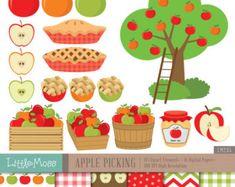 Apple Picking conjunto de imágenes prediseñadas  manzanas