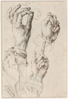 """Albrecht Dürer, """"Studies of Dürer's Left Hand"""", pen and brown and black-brown ink, 27 x 18 cm, 1493/1494"""