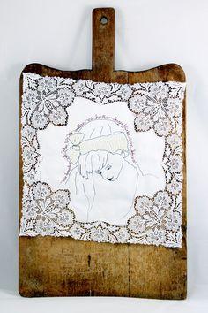 Collagen - Stoffcollage / Nadelkunst - ein Designerstück von mARTinahaussmann bei DaWanda