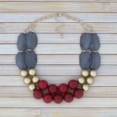 Hey, I found this really awesome Etsy listing at https://www.etsy.com/listing/207009031/red-gold-beaded-chunky-necklace-color